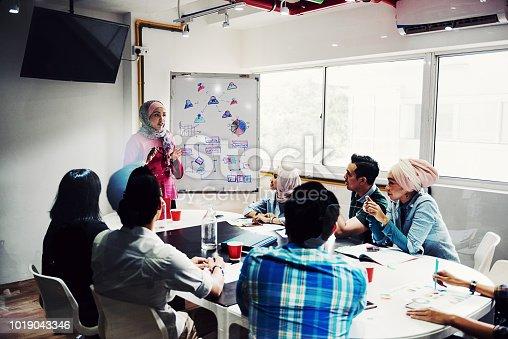 496441730istockphoto Muslim businesswoman presenting strategic goals 1019043346