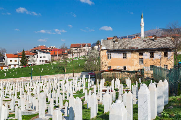 Muslim cemetery in the old part of Sarajevo. stock photo