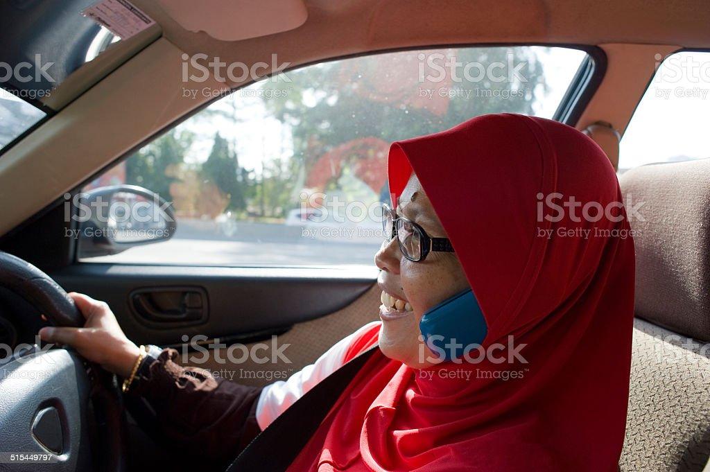 Muslim Female Taxi Driver stock photo