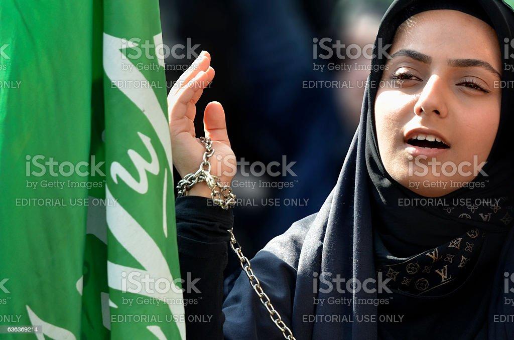 Muslim girl Ashura mourning stock photo