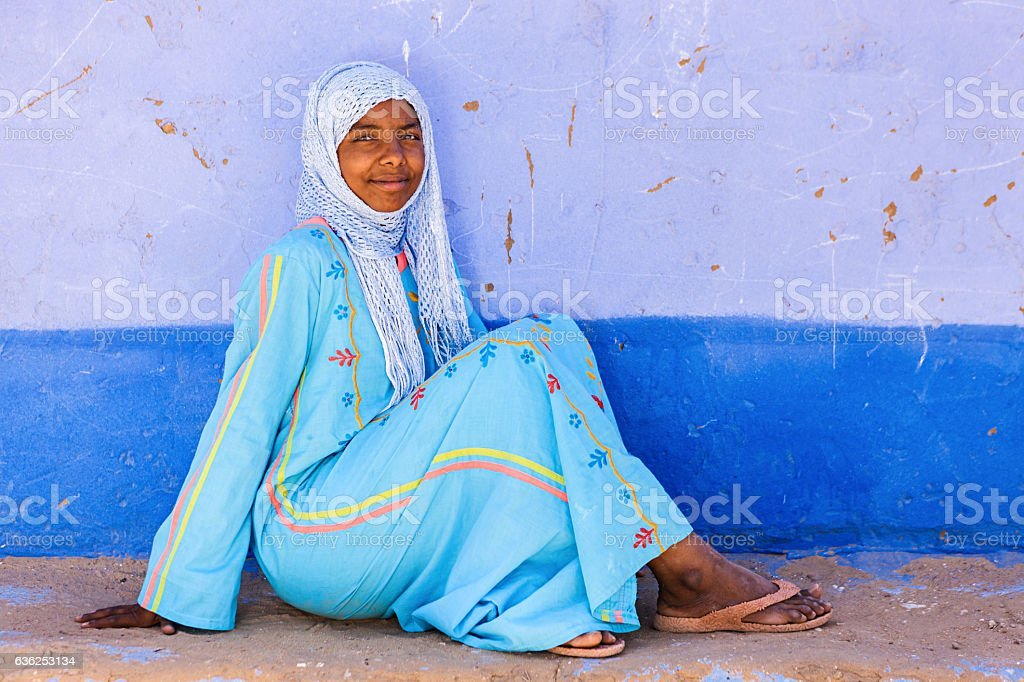 Muslim girl in Southern Egypt stock photo