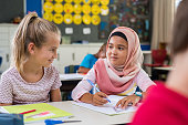 Muslim girl with her classmate