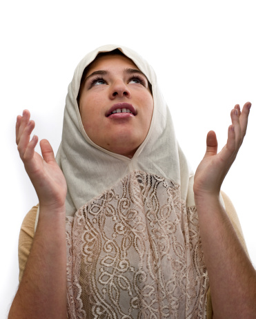 Muslim high school girl posing on white background  (this picture has been taken with a Hasselblad H3D II 31 megapixels camera)