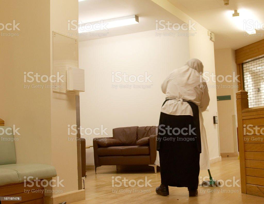 Muslim hospital cleaner royalty-free stock photo