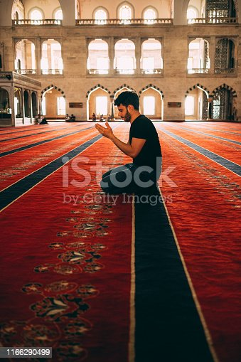 Muslim Man Praying in Mosque