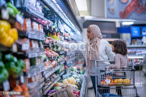 istock Muslim Mother and Daughter Grocery Shopping stock photo 1193353836