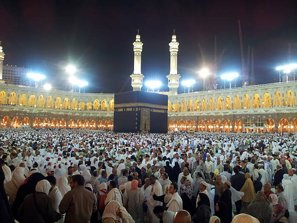 Muslim pray Makkah, Saudi Arabia - March 24, 2012 : Thousands of Muslims dispersed after prayer at Masjidil Haram mosque. circumambulation stock pictures, royalty-free photos & images