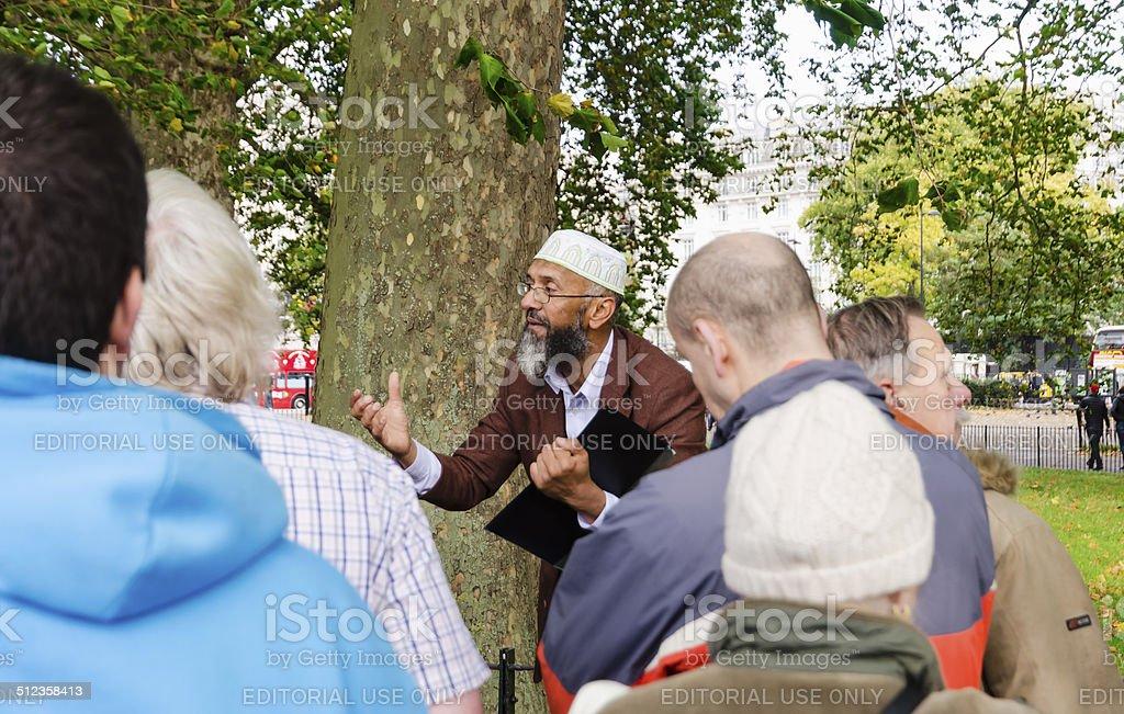 Muslim preacher at Hyde Park stock photo