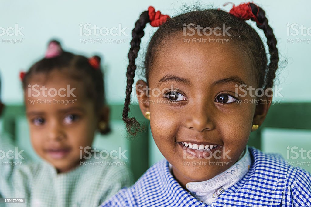 Muslim schoolgirl in Southern Egypt royalty-free stock photo
