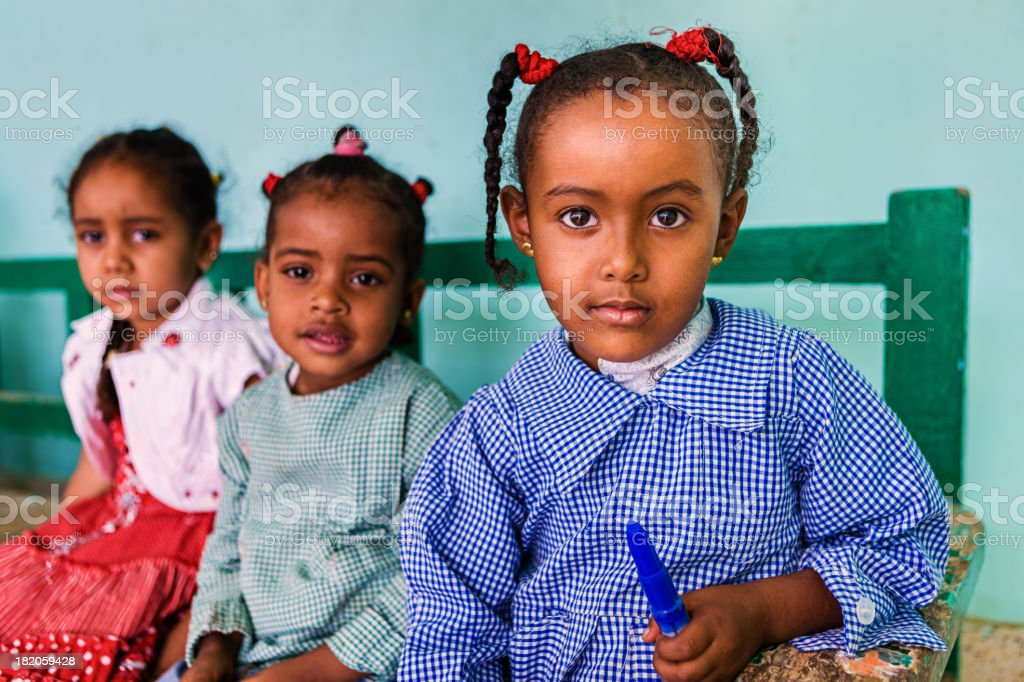 Muslim schoolgirls in Southern Egypt stock photo