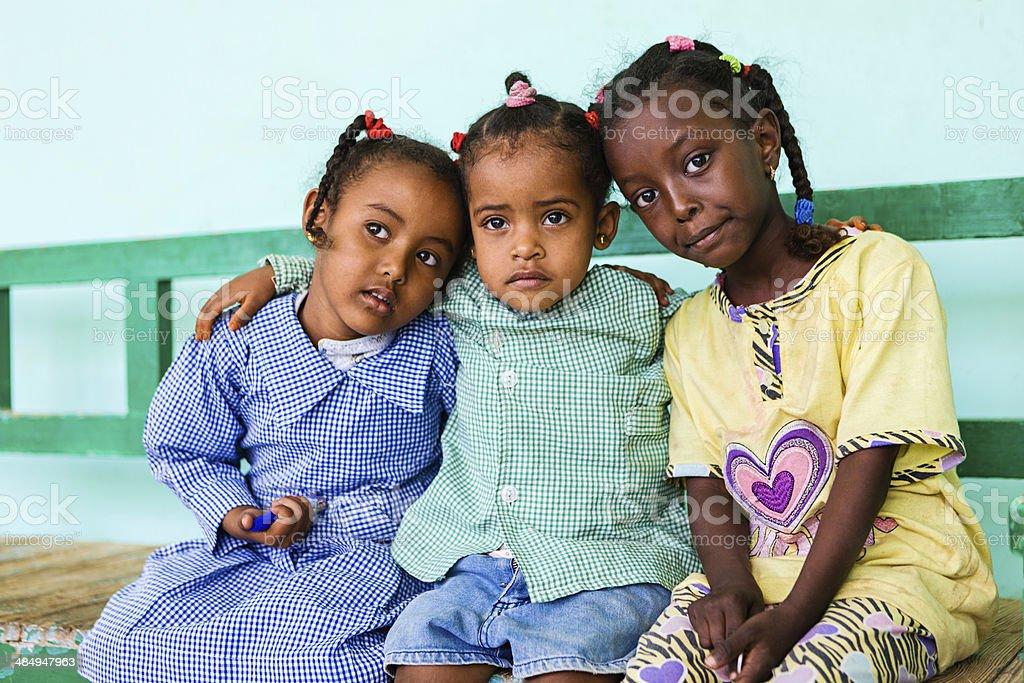 Muslim schoolgirls in Southern Egypt stock photo