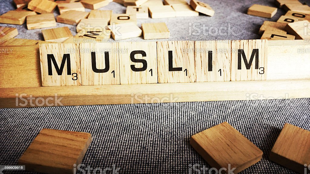 Muslim Spelled with Scrabble Tiles Letters stock photo