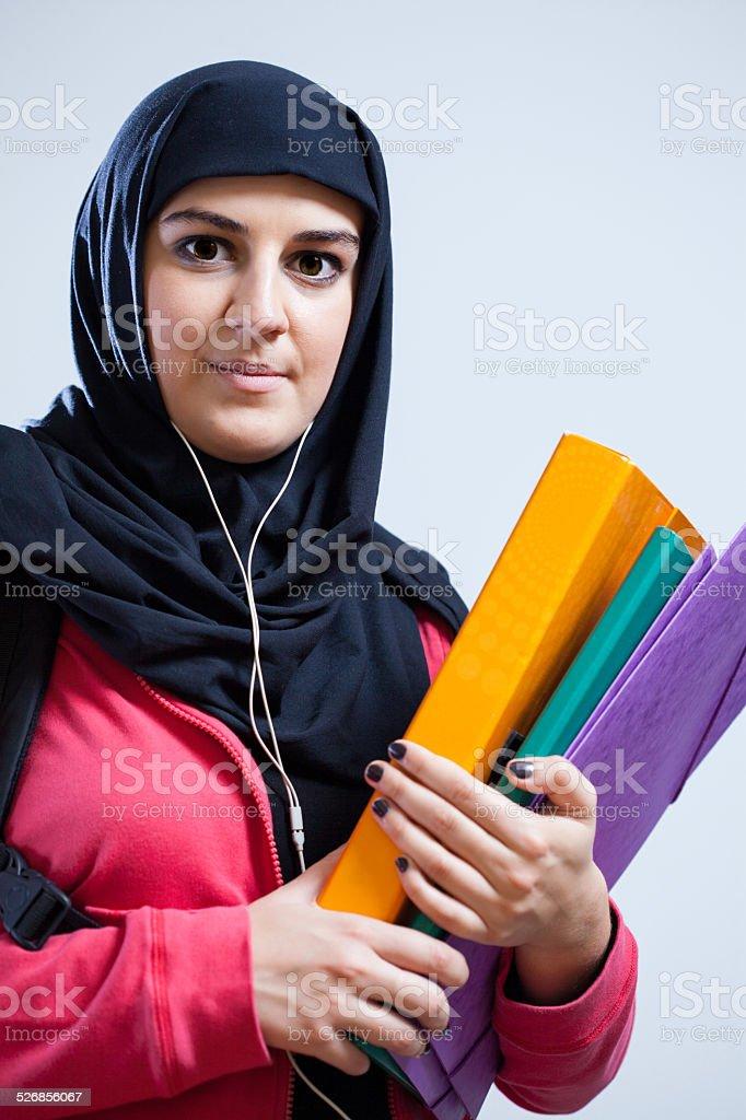 Muslim student before school stock photo