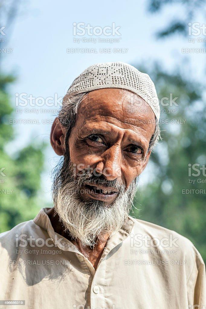 muslim tribal man wearing traditional taqiyah and djellaba stock photo