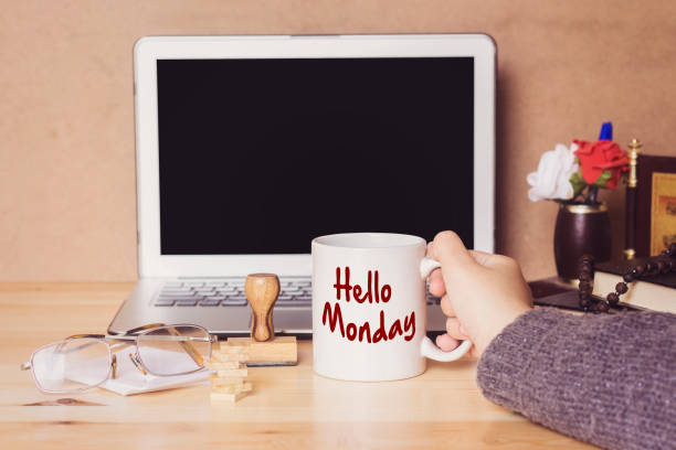 muslim woman drinking a coffee and hello monday concept - monday motivation stock photos and pictures