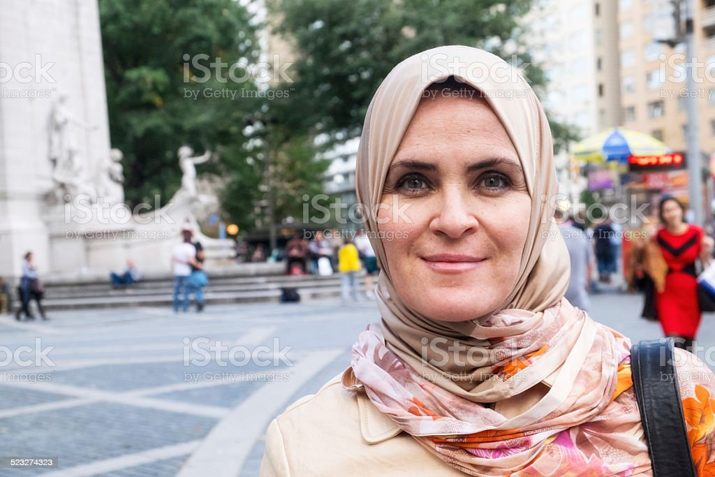 Muslim woman in Central Park stock photo