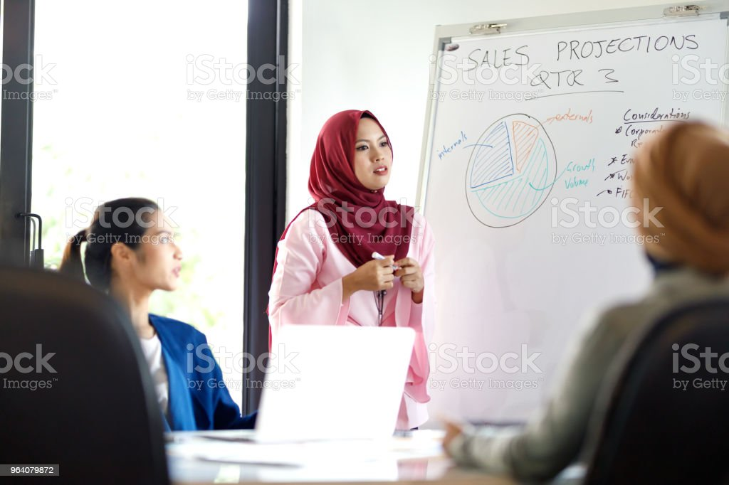 Muslim Woman Leading Diverse Sales Team - Royalty-free Adult Stock Photo
