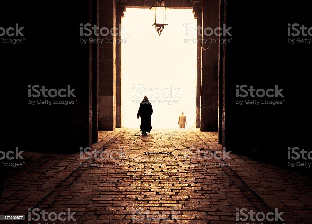 Muslim Woman Walking stock photo