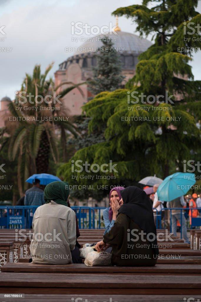 Muslim women in Istanbul waiting for iftar during Ramadan stock photo