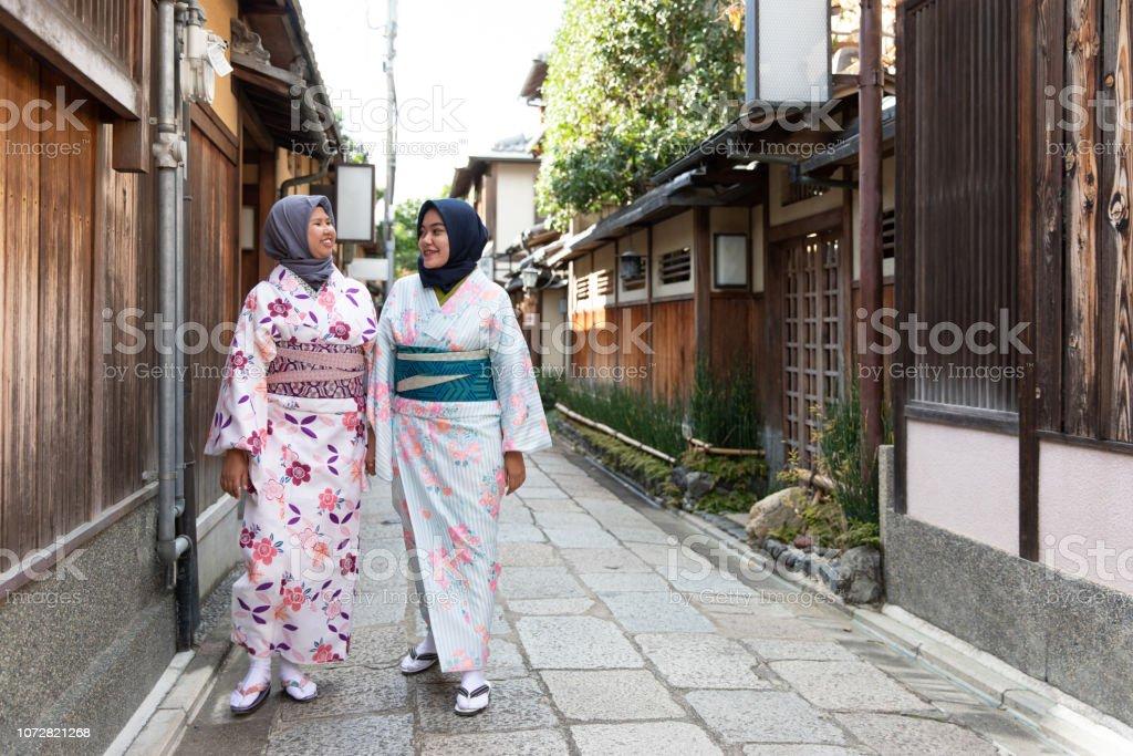 Muslim women in kimono stock photo