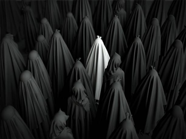 muslimische frauen tragen schwarze burkas zusammenstehen. 3d render - burka stock-fotos und bilder