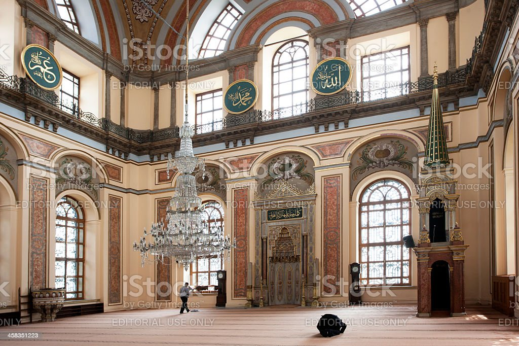 Muslims praying in mosque royalty-free stock photo