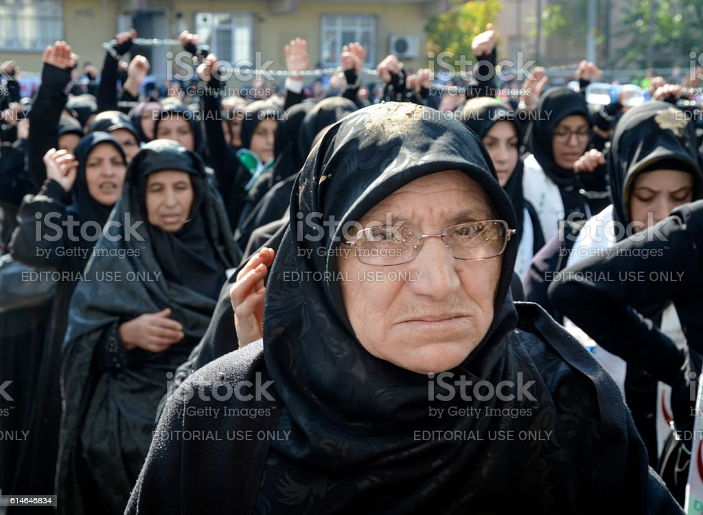 Muslims worldwide marks Ashura Istanbul Shiite community. stock photo