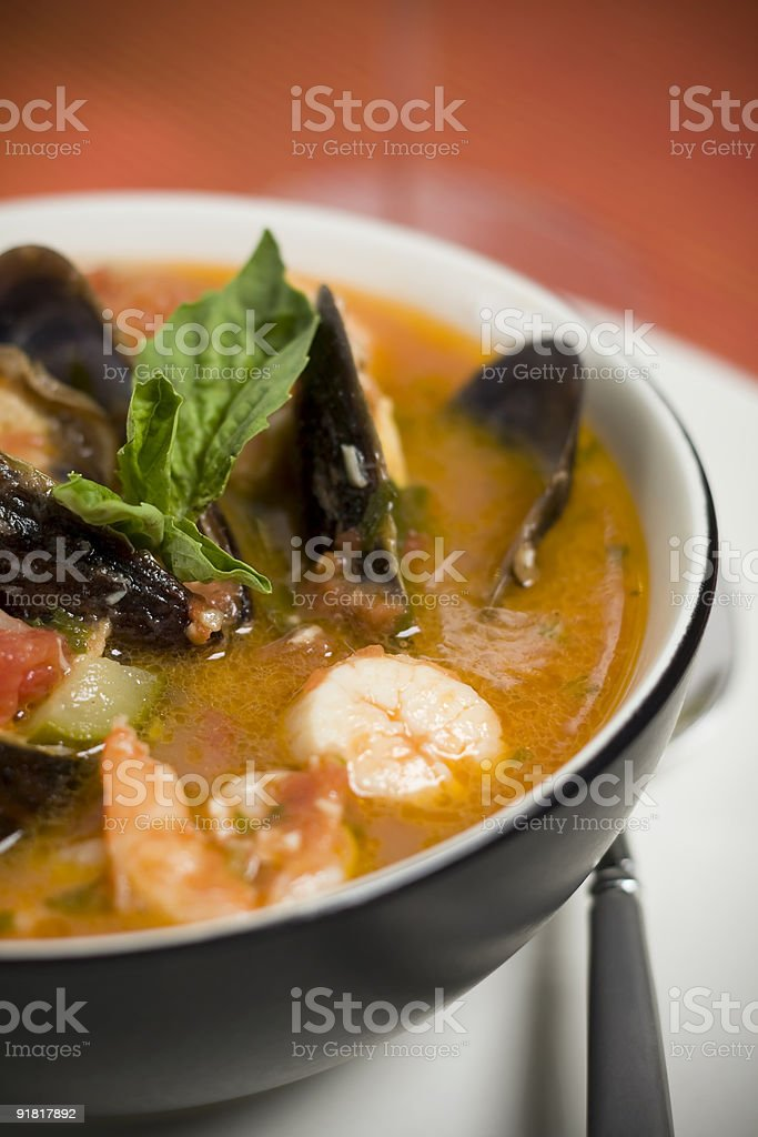Mussel, Shrimp and Scallop Soup stock photo