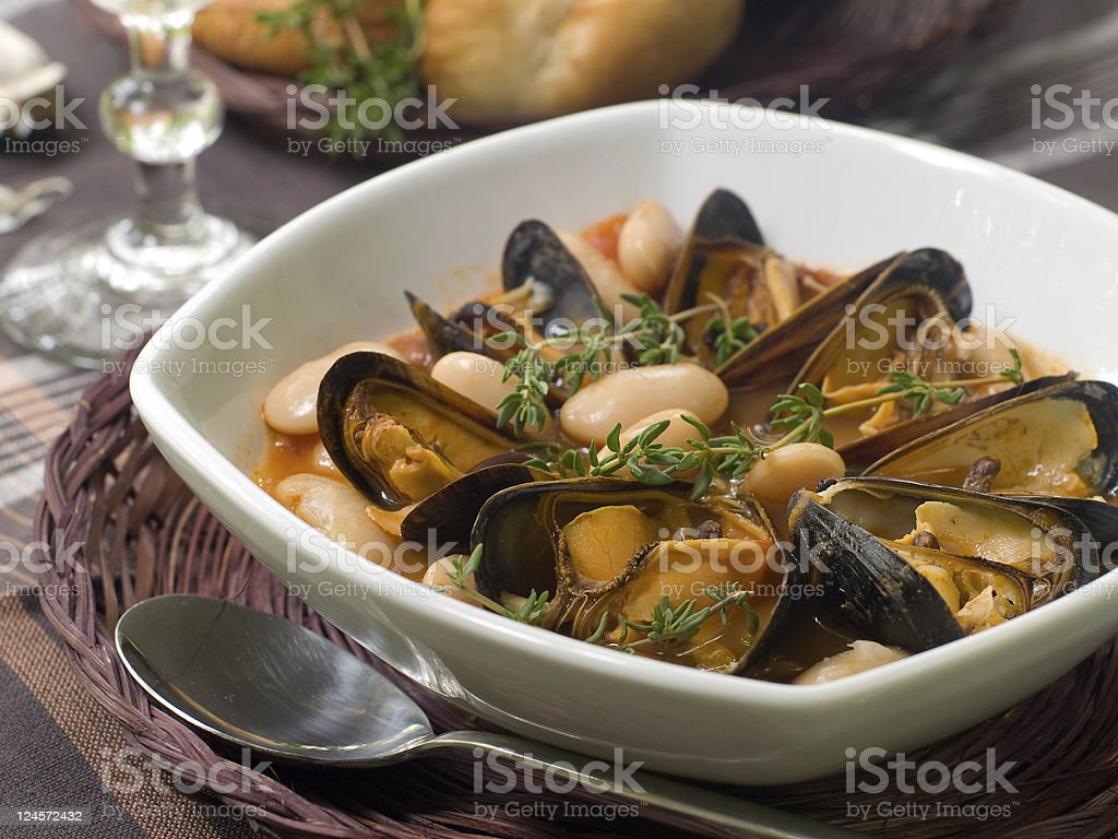 mussel soup royalty-free stock photo