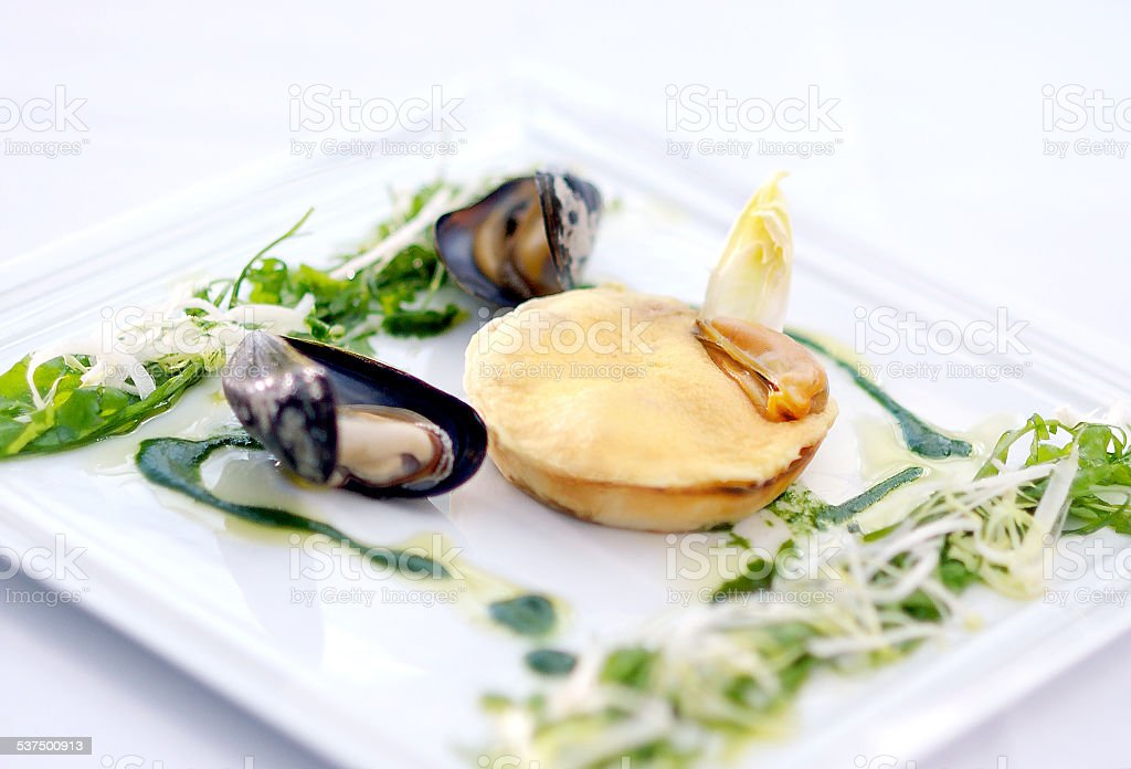 musselpie with sabayon stock photo