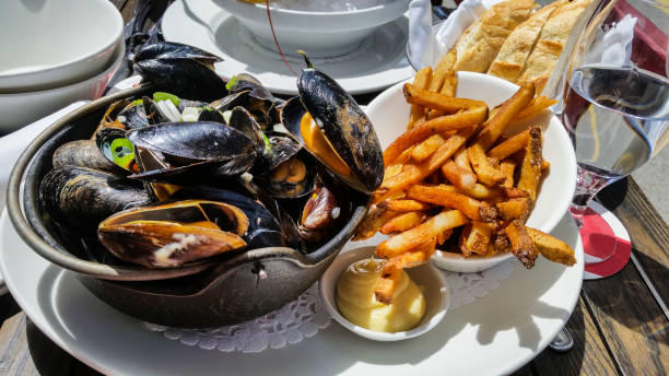 Mussels and fries stock photo