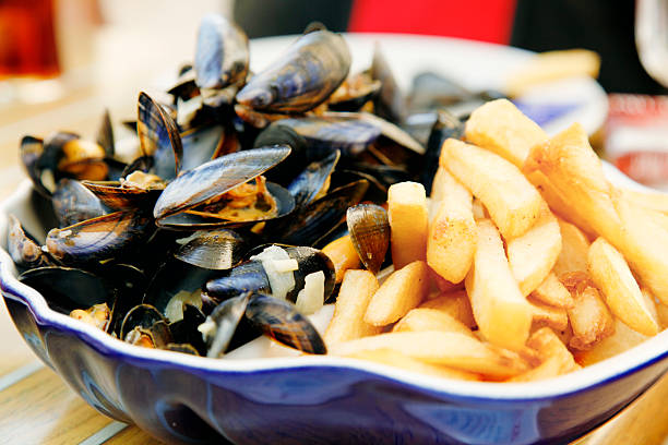 Mussels and frites stock photo