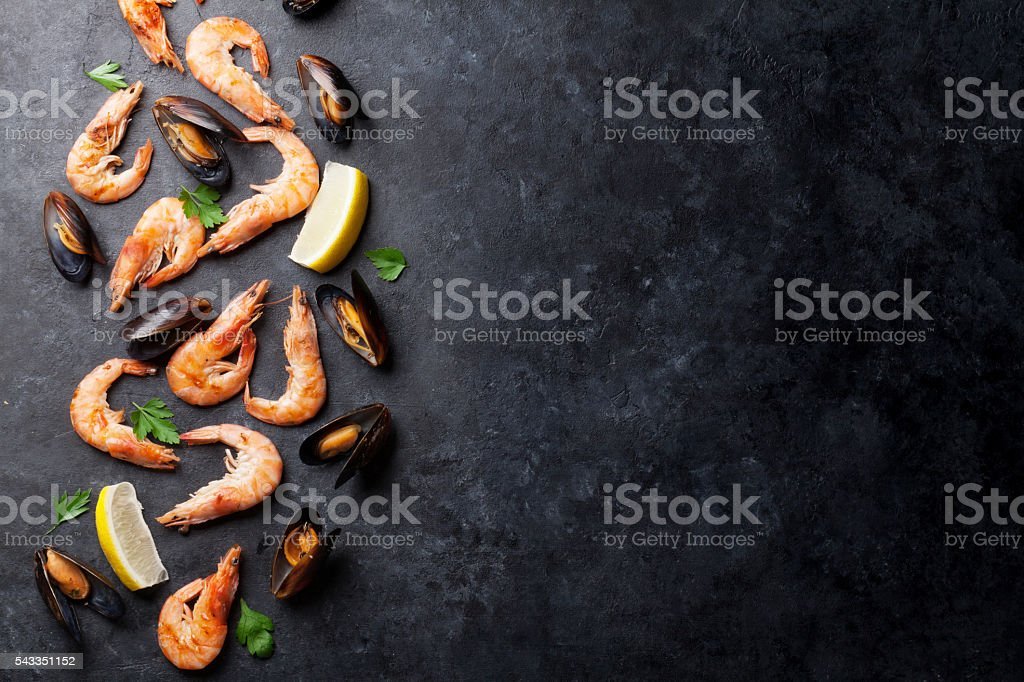 Mussels and shrimps stock photo