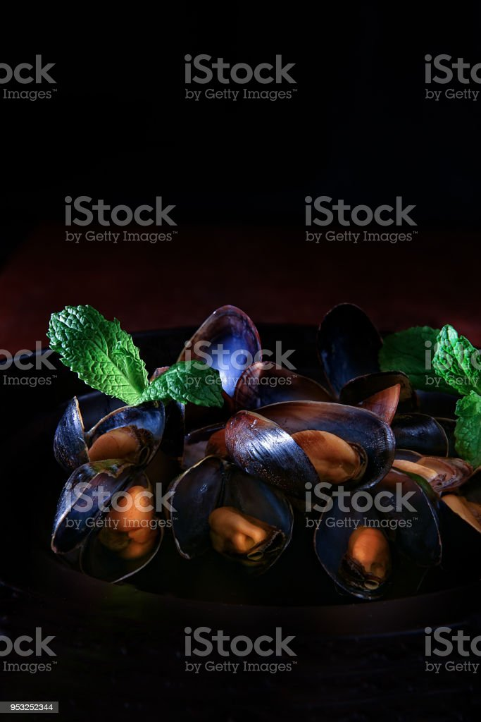 Mussels in Garlic and Wine stock photo