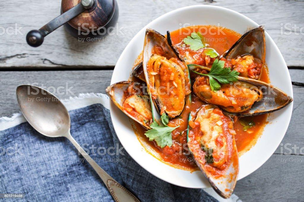 Mussels Marinara stock photo