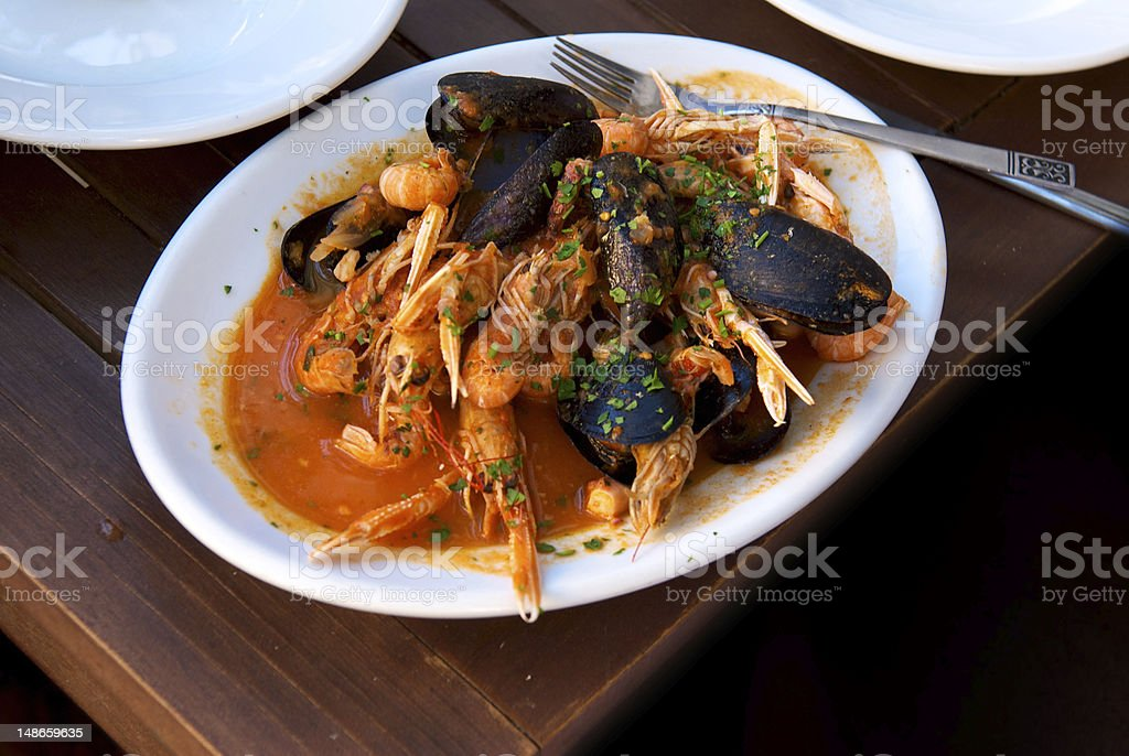 Mussels on a plate stock photo