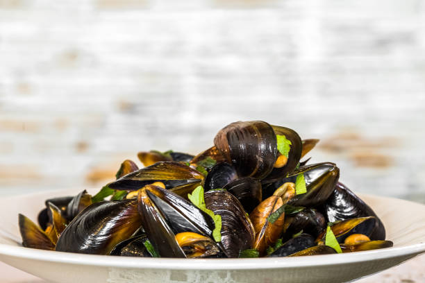 Mussels served in plate, selective focus stock photo