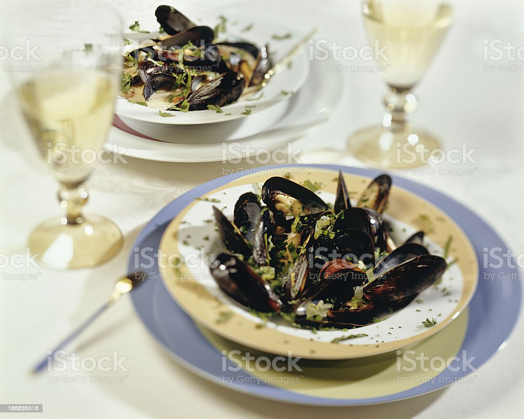 Mussels with white wine sauce stock photo