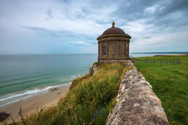 Mussenden Temple located on high cliffs near Castlerock in Northern Ireland stock photo
