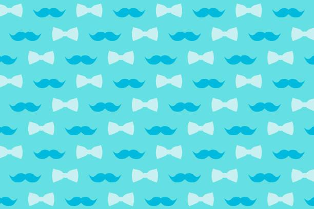 Bigode e gravata borboleta em suavemente azul tons para design, papel de parede e decoração. - foto de acervo