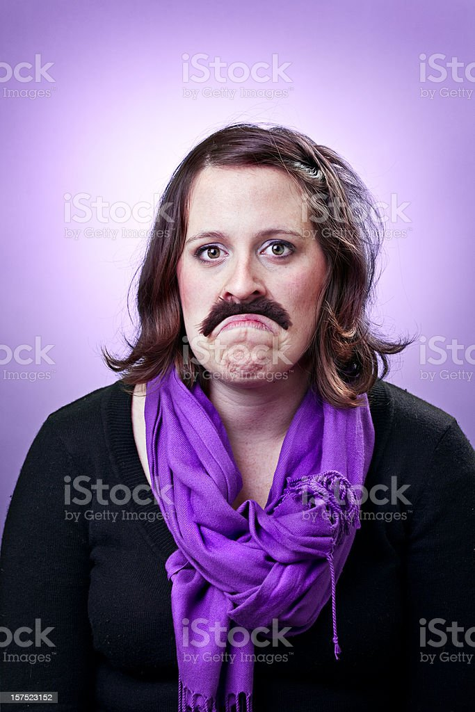 Mustache Beauty Girls royalty-free stock photo