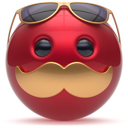 istock Mustache face emoticon ball joyful cartoon handsome red 1038109380