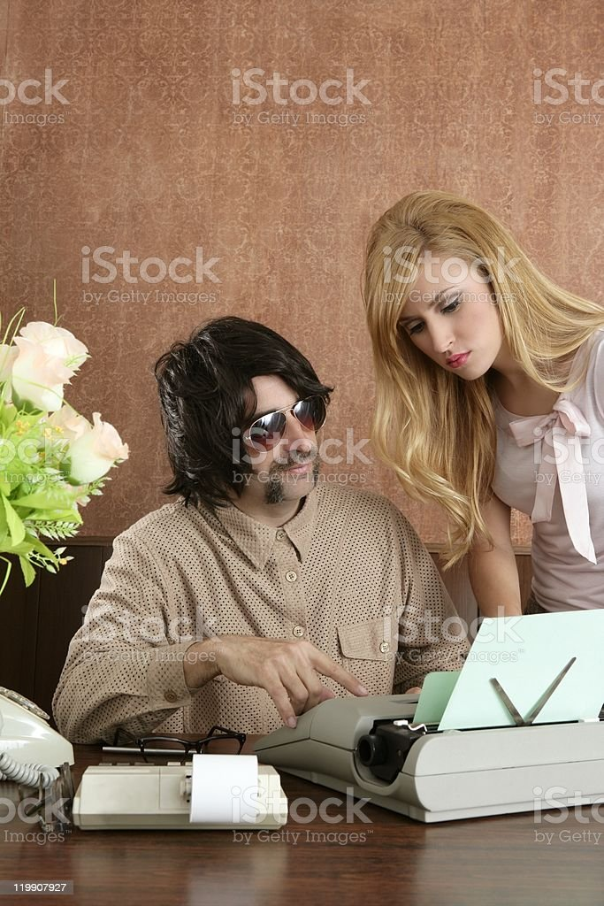 mustache retro businessman sexy secretary royalty-free stock photo