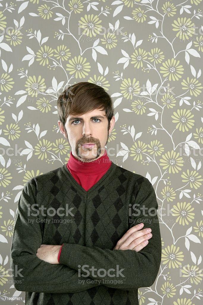 mustache retro salesman geek portrait royalty-free stock photo