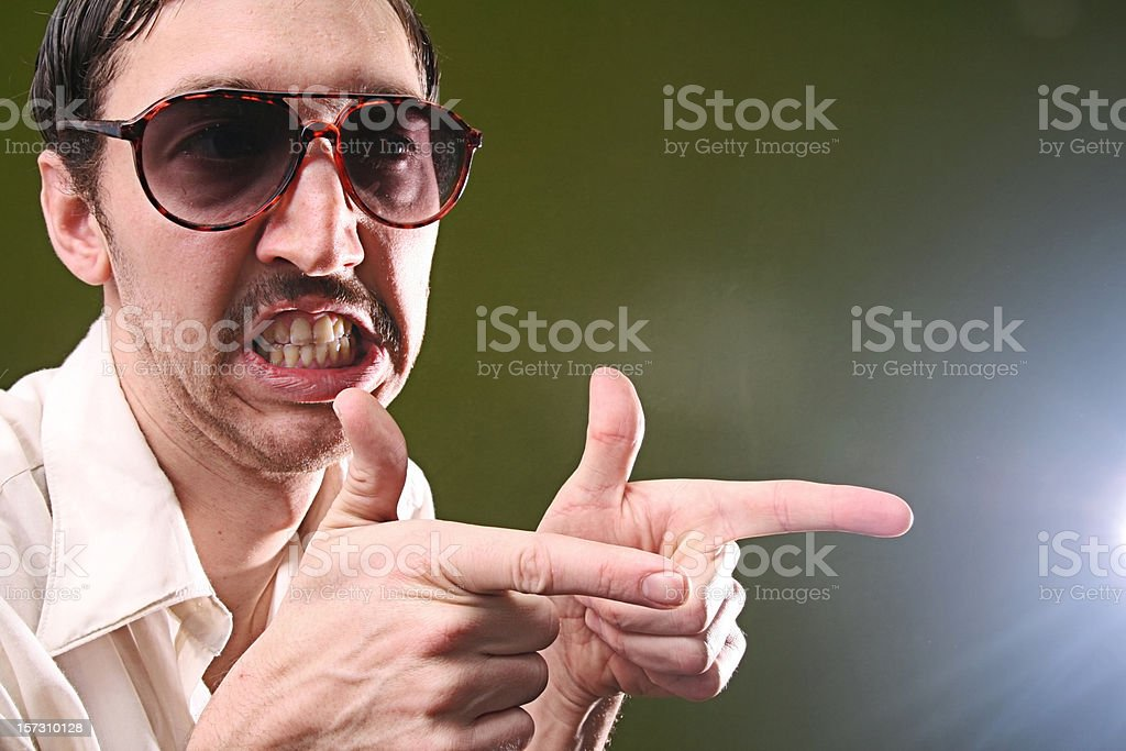 Mustache Salesman And Pointing Gesture stock photo