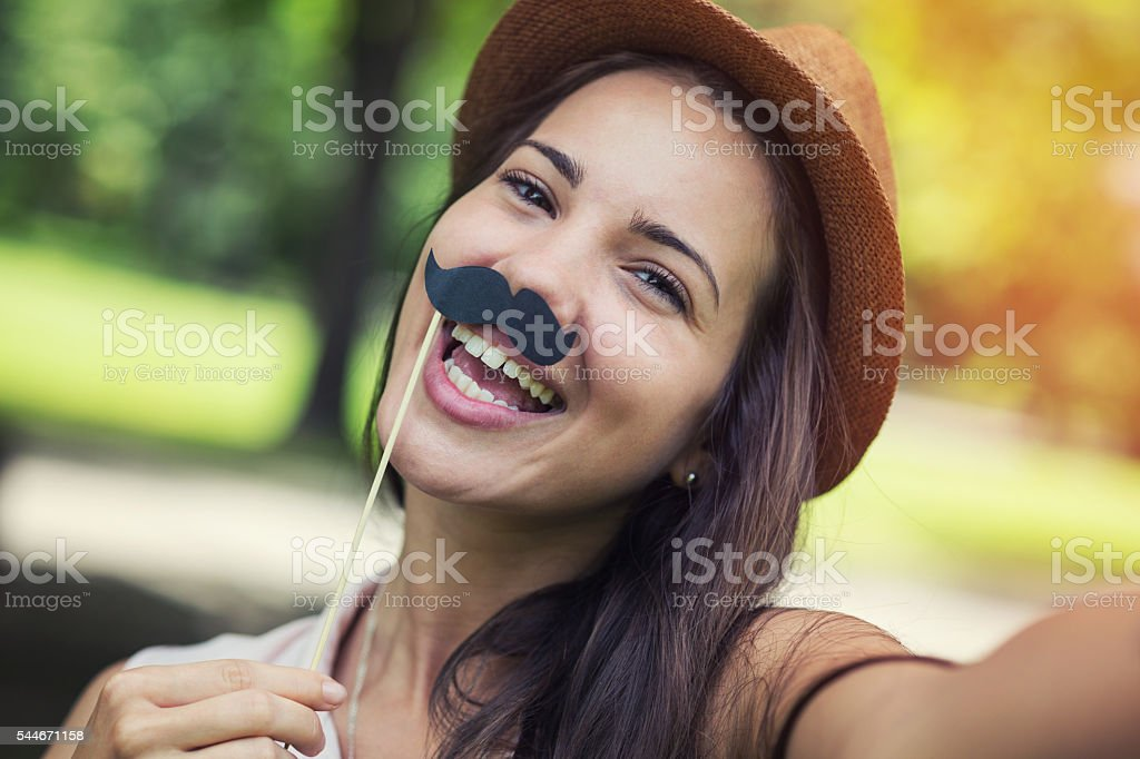 Mustache selfie stock photo