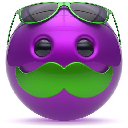 istock Mustache smiley face cartoon emoticon ball happy purple man 1038180748