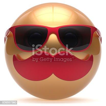 istock Mustache smiling face emoticon ball happy joyful cartoon gold 526557360