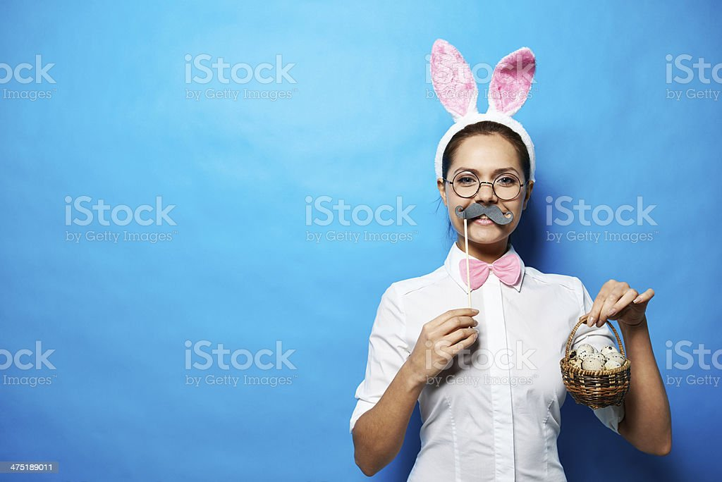 Mustached Easter bunny stock photo