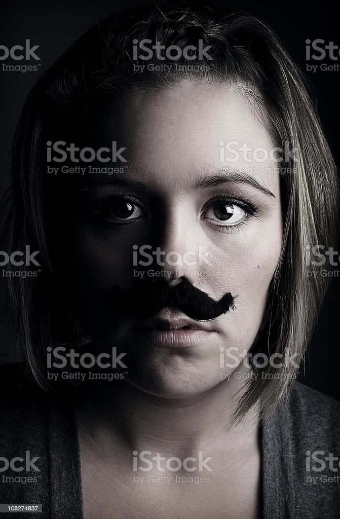 Mustached Young Adult Woman royalty-free stock photo